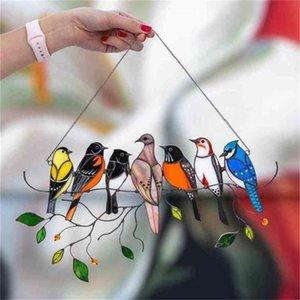 متعدد الألوان 7 الطيور على سلك عالية ملطخة suncatcher جدار الباب نافذة لوحة سلسلة الطيور 2021 هدية عيد الأم هوم حزب الديكور زخرفة شنقا H41SGXN