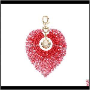 Arts And 1Pcs Bohemia Shell Leaves Tassel Diy Jewelry Garments Bag Decorative Accessories Charm Key Chain Pendant Crafts Cotton Ebsnz