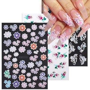 Perfections5D Acrylic Engraved Nail Stickers Embossed Flowers Manicure Sliders Animals Rose Water Color Decals Nail Art Decor GLXF5D001-021