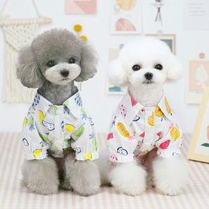 Dog Clothes Summer Beach Shirt Cute Print Hawaii Casual Pet Travel Pineapple Floral Short Sleeve Cat Blouse Apparel