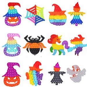 Favor Halloween Push Bubble Fidget Antistress Toys Special Pumpkin Witch Ghost Scarecrow Rainbow Adult Stress Relief Big Size GWB10452