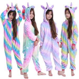 Clothing Sets 4-12 Years Boys Kigurumi Pijamas Rainbow Unicorn New Design Pajama Christmas Cosplay Costume Pajamas For Girls Q1215