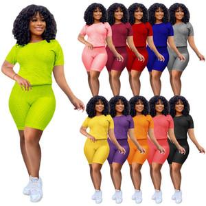 Summer Clothing Women Sexy Tracksuits T-shirt Shorts 2 Piece Sets 2XL Fashion Plain Jogger Suit Solid Color Casual Shirts+capris