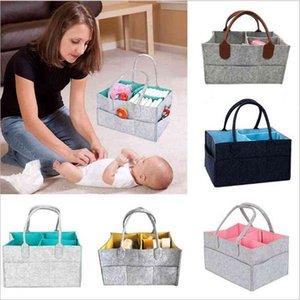 Felt Diaper Hadbangs Bag Infant Diaper Tote Bags Portable Car Travel Insert Bag Organizer Baby Nappy Basket Newborn Wet Storage Bags E6752