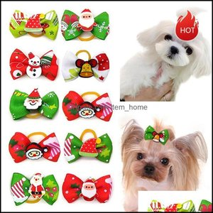 Supplies Home & Garden100Pcs Pet Dogs Hair Aessories Christmas Bows Dog Grooming Bow Cat With Elastic Rubber Clips Apparel Drop Delivery 202