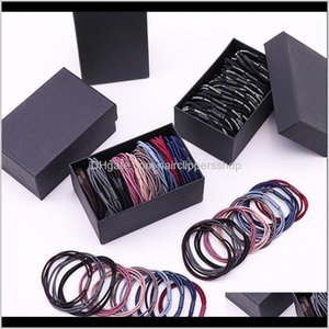 1Set Box Packed Women Elegant Colorful Basic Elastic Ponytail Holder Scrunchie Rubber Bands Headband Hair Accessories Jr2R1 Vbd5H