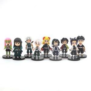 9 PCS / SET DEMON SLAYER Anime KIMETSU No Yaiba Figure 8cm Tomioka Giyuu Kochou Kochou Kochou Kyoujourou Action Toys 210417