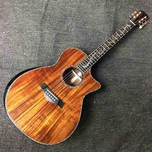 Custom 6 Strings Koa Wood Top Sandalwood Back Side Acoustic Guitar with Armrest Life Tree Inlay