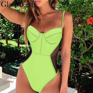 Glamaker Neon mesh transparent bikini Sexy beach bodysuits one piece swimsuit female green swimwear women bathing suit bodysuit 210412