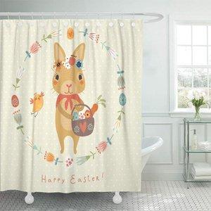 Zhhld 샤워 커튼 토끼 다채로운 부활절 귀여운 동물 레이블 조류 빈 토끼 샤워 커튼 12 후크와 세트 60 x 72 인치