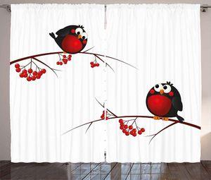 Curtain & Drapes Rowan Curtains D Cartoon Style Birds On Branches Funny Happy Christmas Living Room Bedroom Window