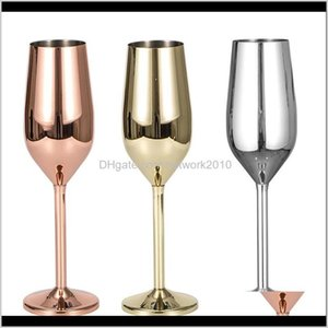 Drinkware Kitchen, Dining Bar & Garden Drop Delivery 2021 200Ml Stainless Steel Red Wine Glasses Sier Rose Gold Juice Cup Drink Champagne Gob