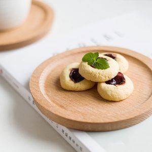Dia 14cm Mini Cake Snack Fruit Tray Round Wooden Plate Small Serving Trays Mug Coaster Tableware Wooden Utensils GWA4765