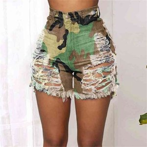 Patchwork Tie Dye Printed Summer Women's Shorts Hole Denim High Waist Sexy Ladies Casual Rainbow Camouflage Jeans Clothes H42809