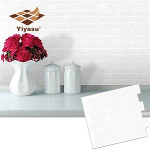 Wall Stickers White Subway Back Splash Tile Peel And Stick Self Adhesive Decal Sticker DIY Kitchen Bathroom Home Decor