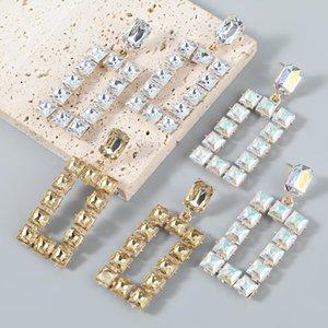 Dangle & Chandelier Pauli Manfi Fashion Metal Glass Square Earrings Women's Retro Party Accessories