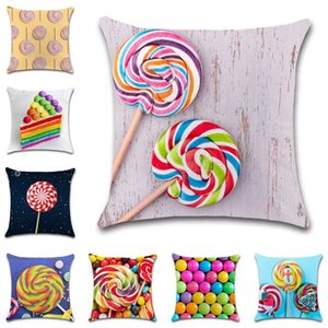 Lollipop Sweet Zucchero Zucchero Stampato Copertura decorativa Decorativa Home Throw Sedia Sedia Seggiolino auto Amico Bambini ragazzi Camera da letto regalo federa