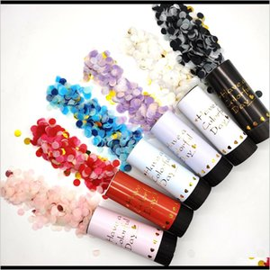 Festive Supplies Home Garden Drop Delivery 2021 Metallic Colorful Push Pop Confetti Party Popper Cannons Handheld Fireworks Wedding Dance Chr