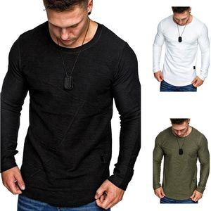 Autumn 20 Men's Solid Round Neck Circular Arc Hem Small Parquet Design Trend Large Long Sleeve T-shirt