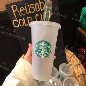 DHL Free Starbucks 24OZ 710ml Plastic Tumbler Reusable Clear Drinking Flat Bottom Cups Pillar Shape Lid Straw Mugs Bardian