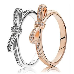 Bague en argent sterling 925 Anneau d'arc brillant CZ Diamond Convient pour Pandora Style européen Medies Cadeau de mariage Bijoux de mode avec boîte exquise