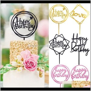 Other Festive & Supplies 1Pc Glitter Gold Letter Happy Topper Wedding Birthday Acrylic Cupcake Toppers For Diy Baby Shower Party Cake Dewz9