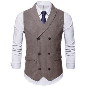 Men's Vests Autumn Suit Waistcoat Men Casual Classic Stripe Double Breasted Vest Business Wedding Banquet Formal