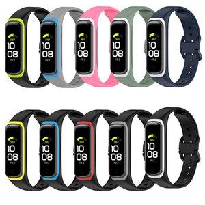 Sangles de remplacement en silicone doux Bande de boucle de couleurs Deux couleurs pour Samsung Galaxy Fit2 SM-R220 Montre Sport Bracelet