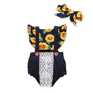 Meninas baby Sundress Macspers 2+ Luva voadora gravata de algodão Lace Strap Botão de decoração Jumpsuit Crianças Onesies Girls Outfits 0-3T 346 Y2