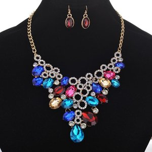 Classic Black Blue Water Drop Hollow Chains And Necklaces Rhinestone Dangle Earrings For Women Jewelry Set Naszyjniki & Necklace