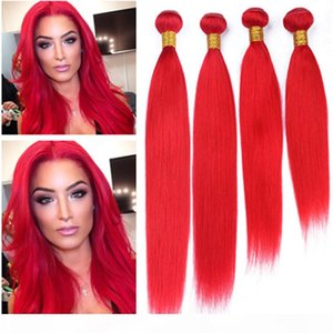 Silky Straight Peruvian Virgin Human Hair Bright Red Bundles Deals 4Pcs Lot Colored Red Virgin Human Hair Weaves Extensions Double Weft