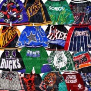 Sadece Takım Don Basketbol Kısa Spor Şort Cip Pop Pantolon Cep Fermuar Sweatpants Mavi Beyaz Siyah Kırmızı Erkekler Dikişli Mitchell Ness
