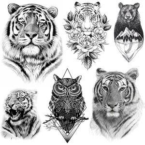 Tigerish Beast Of King Tattoo Temporary Realistic Tiger Tatoo Paste For Men Women Adult Body Art Fake Sketch Bear Tattoo Sticker
