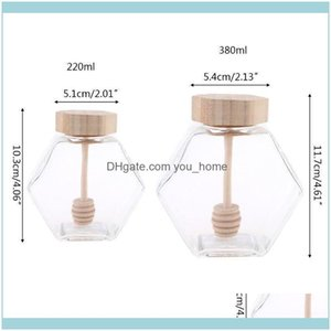 Drinkware Kitchen, Dining Bar Home & Garden220Ml 380Ml Hexagonal Glass Honey Bottle With Wooden Stirring Rod Q0Ka Wine Glasses Drop Delivery