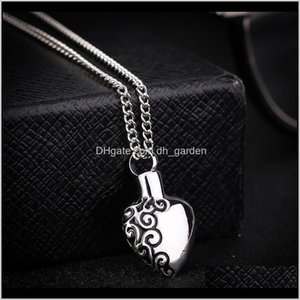 Necklaces Stainless Steel Love Heart Memorial Cremation Ashes Urn Necklace Locket Bone Ash Jewelry For Men Women Pendant U5Dmy Fk61D