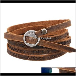 Charm Multilayer Genuine Leather Fashion Jewelry Women Bracelets Letter Dream Love Peace Be Inspirational Mens Bracelet 162460 Pqkwk 326Jr
