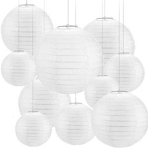 30 Pcs 4-12inch White Paper Lanterns Chinese Lanterne Paper Lampion Wedding Babyshower Party Halloween Hanging Diy Decor Favor