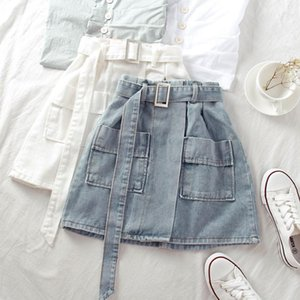 Summer Korea Women's fashions High waist cotton denim double pocket mini femme skirt plus size s825