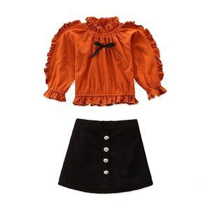 2021 New Brand Kids Baby Girl Clothes Cotton Ruffle Tops Sweatshirt woolen Skirt Outfits Set Kids Designer Clothing