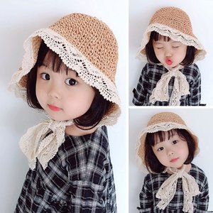 INS Summer Lace Hats For Girls Straw Kids Baby Lace-up Bucket Hat Handmade Children Panama Vacation Beach Caps