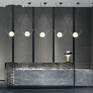 Nordic Restaurant Lights Novelty Glass Ball Led Chandeliers Modern Art Lamps El Front Store Single Head Hanging Lamp Pendant