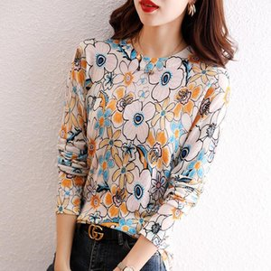 Women's Blouses & Shirts Autumn Round Collar Shirt Korean Fashion Female Knitted Floral Print Blouse Office Lady Loose Pullovers Tops W762