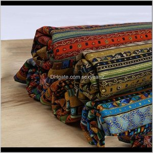 Clothing Apparel Drop Delivery 2021 Ethnic Print African Cotton Linen Diy Handmade Sewing Fabric For Sofa Bags Dress Home Decor Table Cloth 1