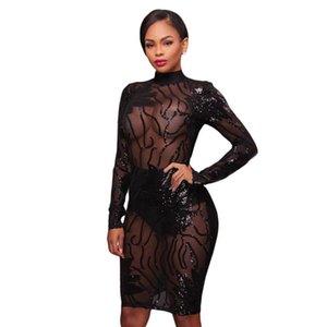 Doyerl Kadınlar Uzun Kollu Siyah Pullu Elbise Seksi Mesh See Backless Bodycon Kalem Partisi See Sparkly Elbiseler Vestido de Festa Casual