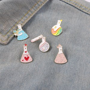 Beaker Enamel Pins Bottle of Galaxy Rainbow Pink Heart Bowknot Metal Brooches Badges Heart-shaped Pins up Gift for Science Lover