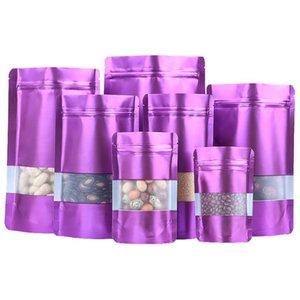 100 adet / grup Mor Mor Stand Up Alüminyum Folyo Aperatif Paketleme Çanta Pencere Kuru Çiçek Çay Mylar Saklama Torbaları
