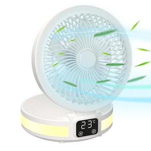 Electric Fans Mini Foldable Quiet Desk Fan Bedside Night Light With Digital Temperature Display USB Rechargeable Outdoor Ventilator
