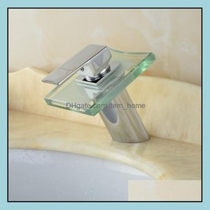 Bathroom Faucets, Showers As Home & Gardethroom Sink Faucets Copper Short Basin Faucet Waterfall Mixer Water Tap, Led, Brass Wash Glass And