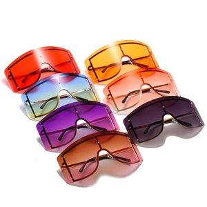 Уникальный супер большой кусок негабаритных квадратных солнцезащитных очков для женщин Урожай сплав Rimls Gradient Sun Glass Men Cool Party Shade