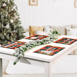 Christmas Rectangle Table Placemat Coffee Cup Mats Non-slip Grid Printing Placemats Heat Insulation Xmas Party Decoration Tableware BWD10409